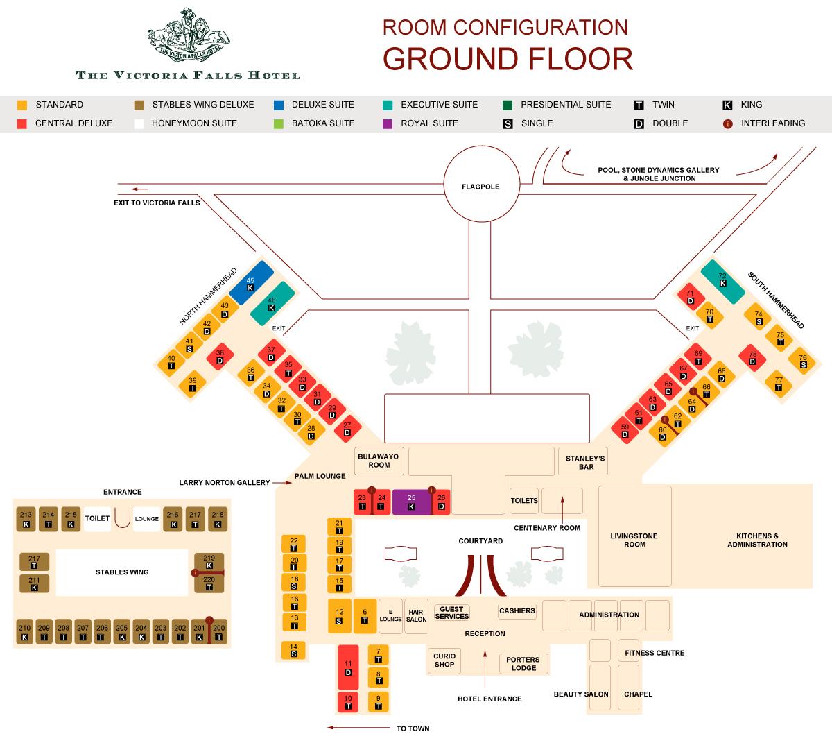 Ground floor layout Victoria Falls Hotel
