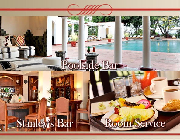 Poolside Bar, Stanley's Bar and Room Service Victoria Falls Hotel